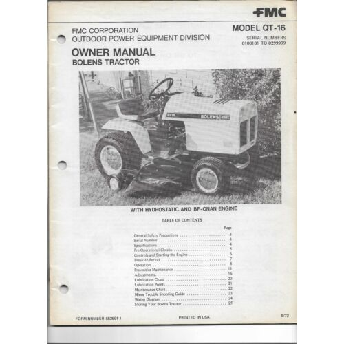 original-fmc-bolens-model-qt16-qt16-tractor-operators-manual-number-5525911