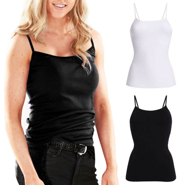 Ladies Women's Camisole Cami Vest Tank T Shirt Tops Spaghetti Straps