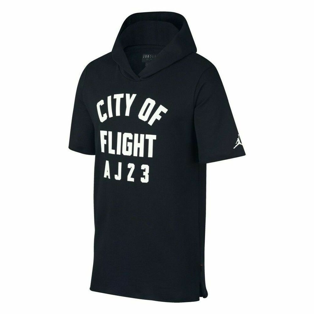ea6a0a81a8c5 Details about Nike Jordan City Of Flight Pullover Short Sleeve Hoodie Black  911317-010 NWT