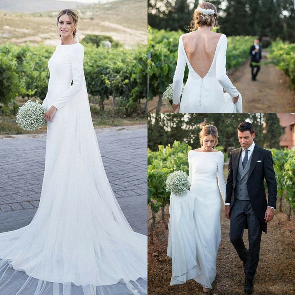 cd0a3105 Details about 2019 Modest Long Sleeves Sheath Wedding Dresses Backless Wedding  Bridal Gowns