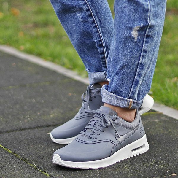 13410abf06 Details about Nike Air Max Thea Premium Wmn Sz 8.5 616723-008 Cool Grey/Cl  Grey-Silver Leather