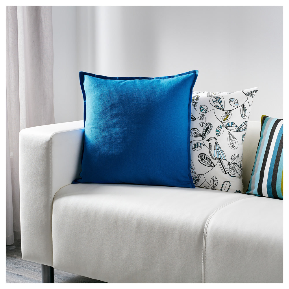 Details About Ikea Gurli Pillow Cover Bright Blue 20 Cushion New Cotton Cornflower Pop Color