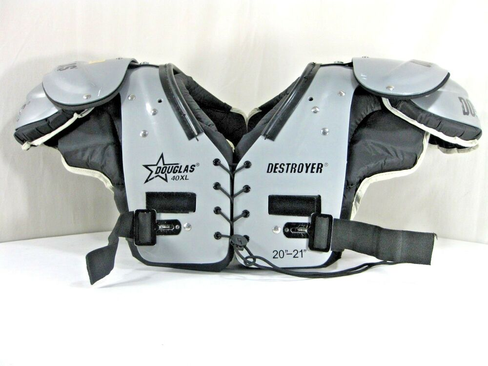"5f66543eb Douglas Destroyer 40XL Football Shoulder Pads   20""-21"" Gray Black NICE!"