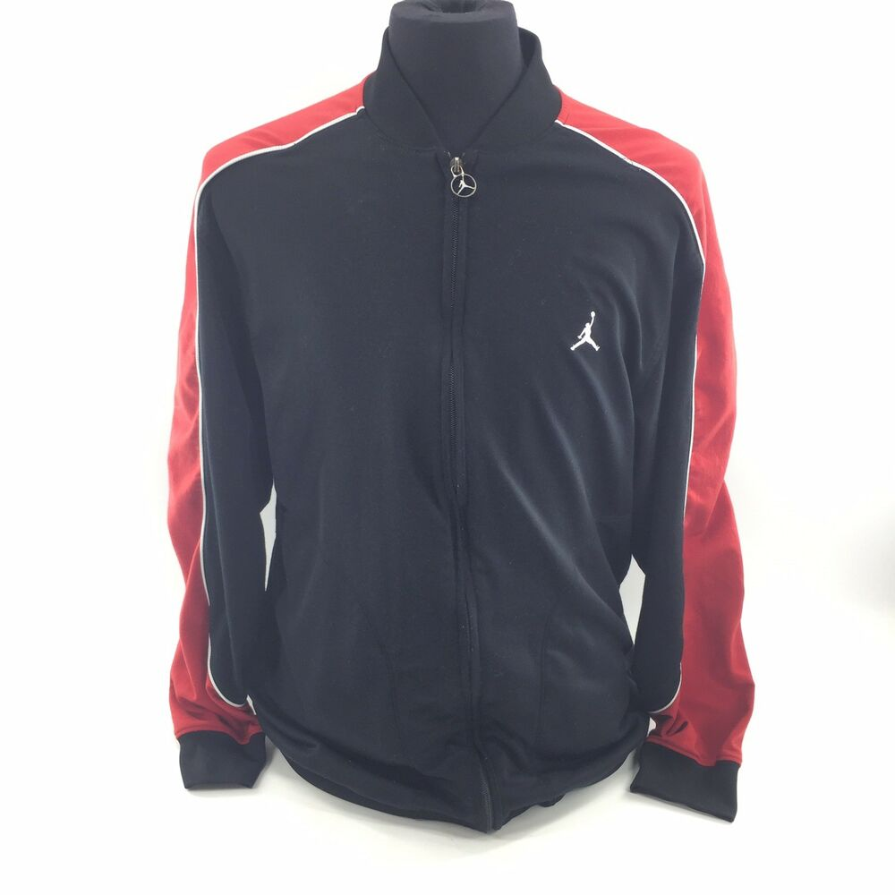 finest selection dc0fa 5e1e3 Details about Vintage Nike Air Jordan Jumpman Full Zip Track Warm Up Jacket  XL Black Red 4C