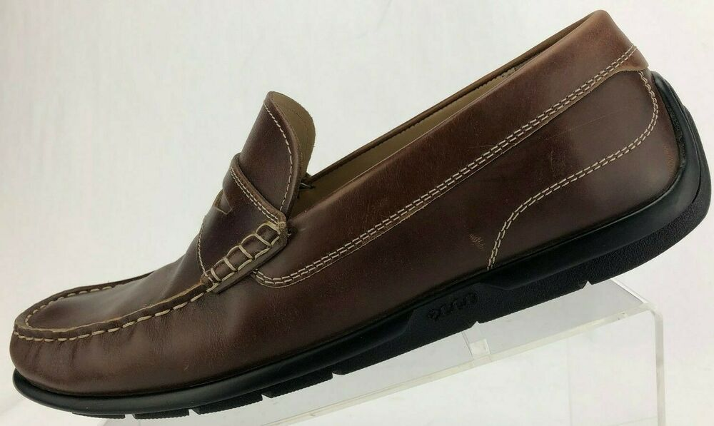 412447abfbb Details about Ecco Driving Shoes Moccasin Moc Toe Brown Leather Penny Loafer  Men 44 10