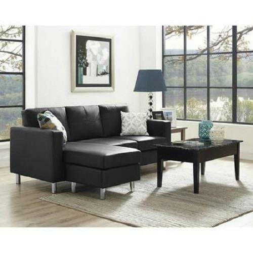 Black Sectional Sofa Faux Leather Configurable with Chaise Couch ...