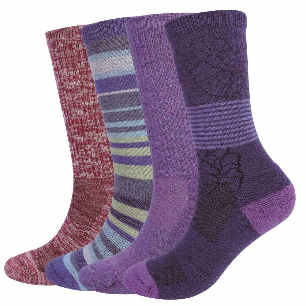 c4397075d2a2d Details about Enerwear 4 Pack Women's Merino Wool Outdoor Hiking, Capming Trail  Crew Sock