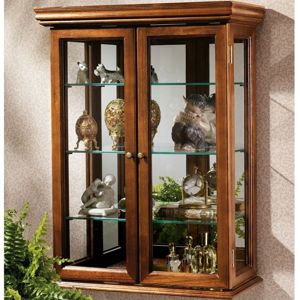 Details About Brown Two Gl Door Wall Mounted Curio Cabinet Home Living Display Furniture