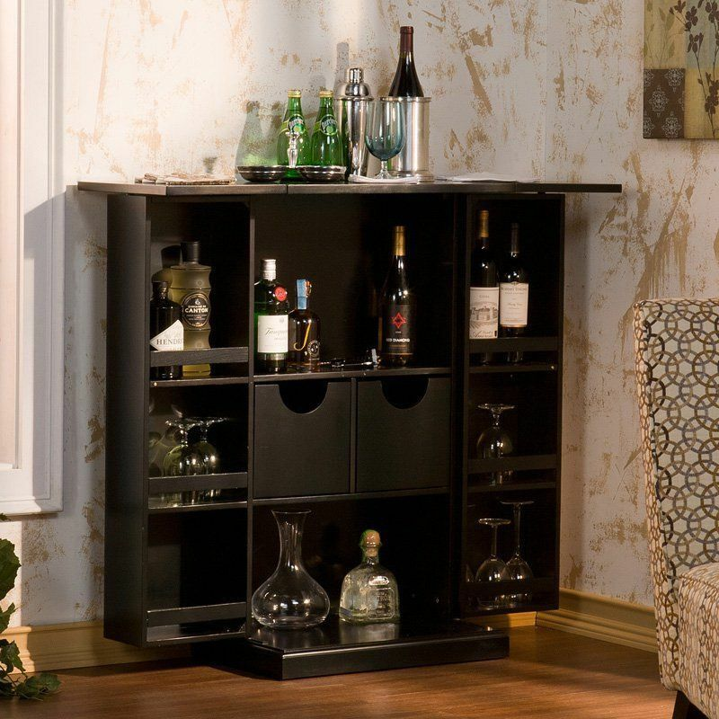 Details About Black Fold Away Storage Wine Bar Unit Cabinet Home Living Dining Room Furniture