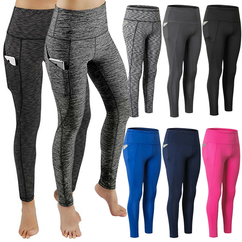 4594ae6502 Details about Women's High Waist Yoga Leggings Pocket Fitness Sport Workout  Athletic Pants P12