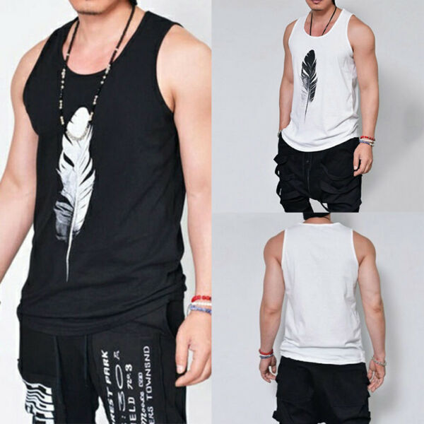 Men Muscle Sleeveless Gym Tank Top Vest T-shirt Singlets Feather Print Tee Tops
