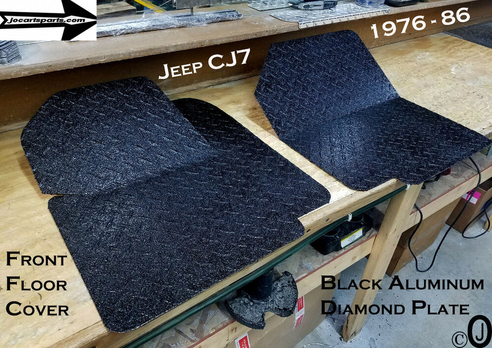 Details about Jeep CJ7 BLACK Rubber Coated Aluminum Diamond Plate Front Floor Cover 1976-86