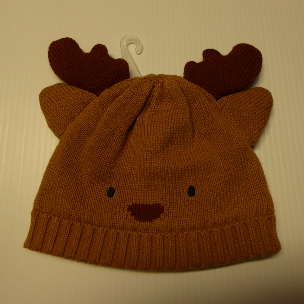 88a10838e22 Details about Gymboree Reindeer Winter Hat NWT New Boy Girl Tan Brown  Antler Christmas 6m Knit