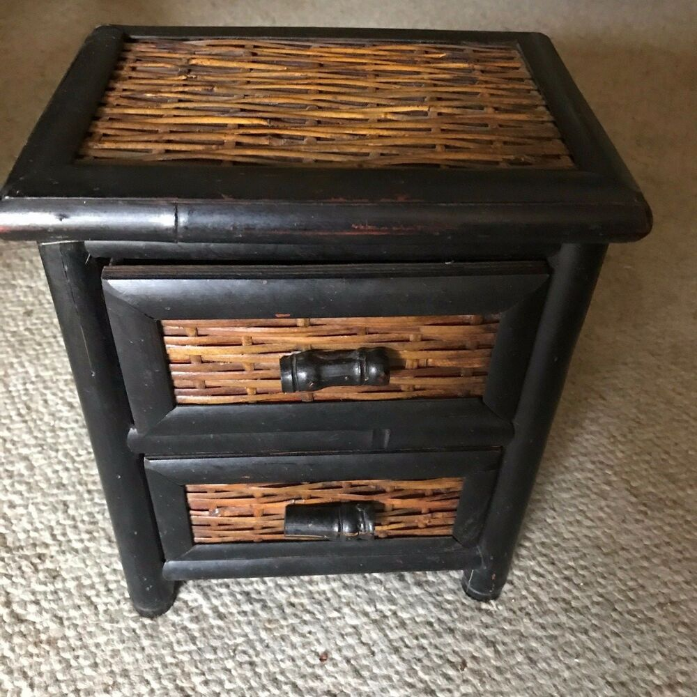 Details About MINI RATTAN CABINET WITH 2 DRAWERS
