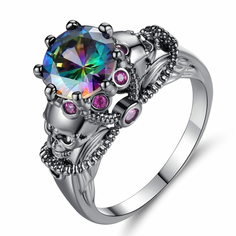 Unique Engagement Rings For Women: Multi-Colored Skull Engagement Ring Women Punk Goth Rings