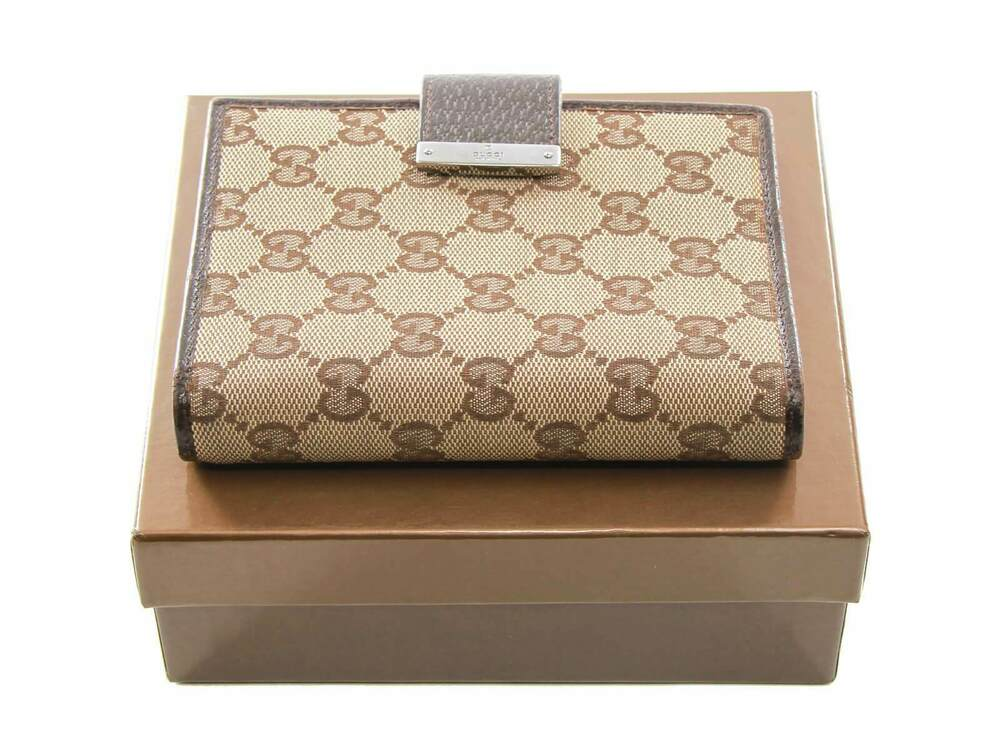 ef7bcc80ff2 Details about Authentic Gucci Web GG Logos Pattern Agenda Notebook Cover