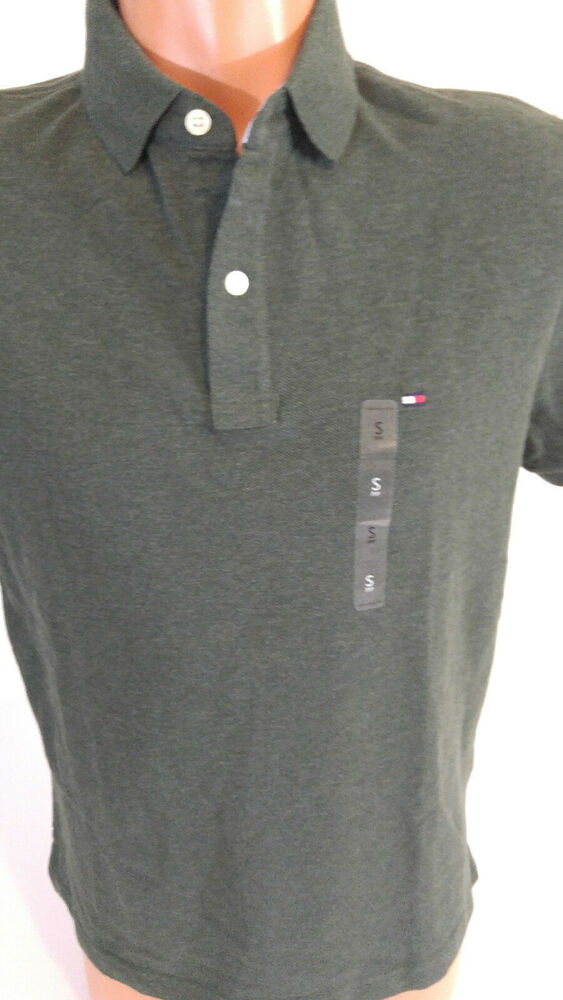 5fb0966f Details about Tommy Hilfiger Mens Small Polo Shirt Short Sleeves Rifle  Green 100% Cotton