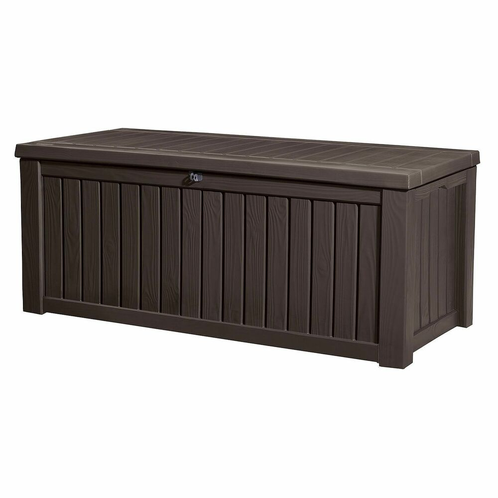 Details About Keter Rockwood 150 Gallon Patio Storage Bench Weatherproof Deck Box