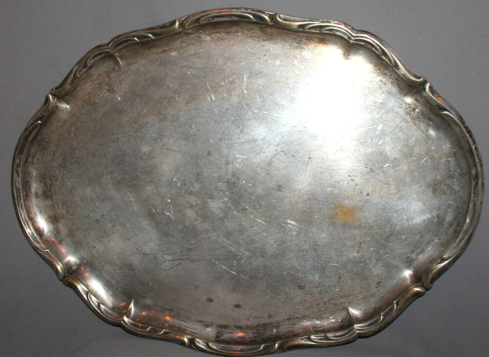 Details About Antique Silver Plated Serving Tray Platter