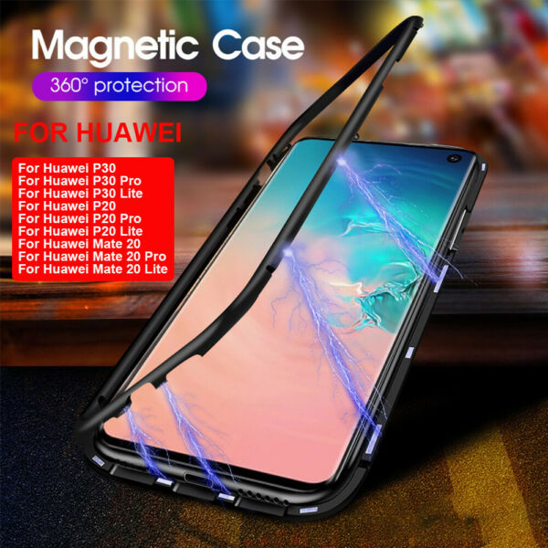 Case For Huawei P30 Pro P20 Mate 20 Pro MAGNETIC ADSORPTION METAL GLASS Cover