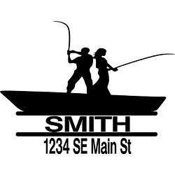 Customized Fishing Duo Vinyl Decal  for Mailbox Name Street Address Set of 2