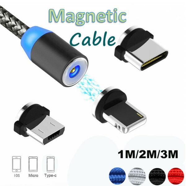 1-3M Magnetic Adapte Type-C Micro USB IOS Charging Cable For Samsung iphone lot