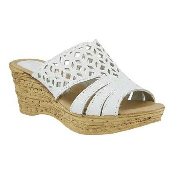 ffa3e5b37c Details about Spring Step Women's Vino Cork Wedge Slip on Sandals White  Leather 42 US 10.5/11