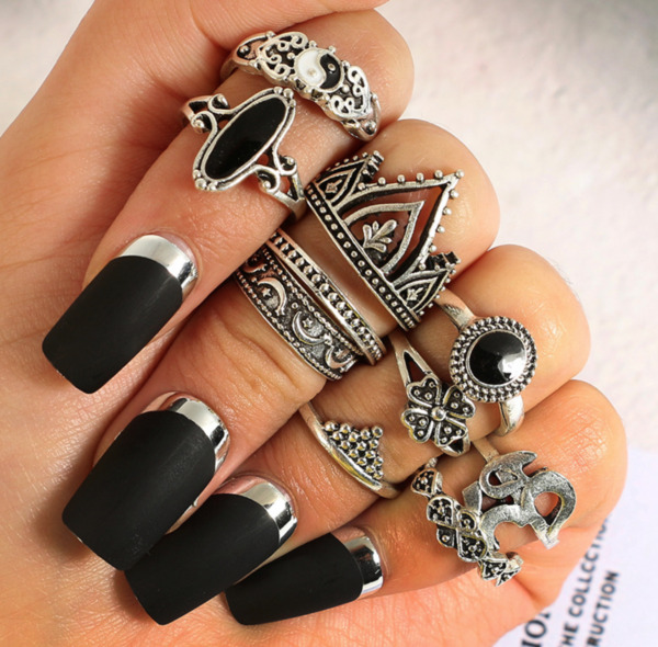 Boho Stackable Mid Midi Above Knuckle Ring Band 10 pcs set