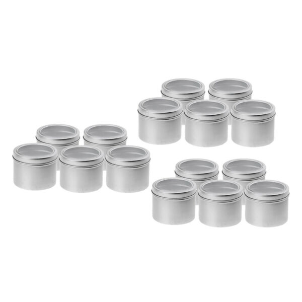 15x 100ml Round Aluminum Cans Screw Lid Empty Tins Jars Slip Slide Container