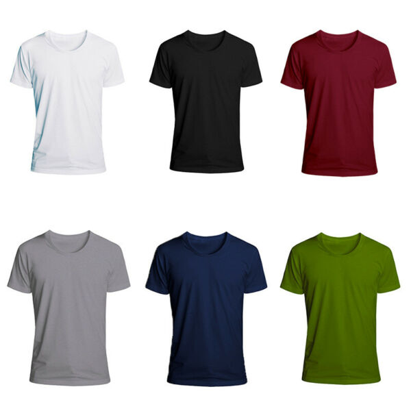 Mens T Shirts For Men Short Sleeve Shirt Casual S Sports 5XL Slim Fit Round Neck