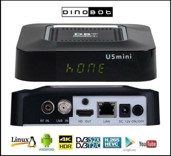 Decoder Android Box Axas His 4K Combo Plus Enigma2 Android Dvb-S2/Dvb-T2 H.265