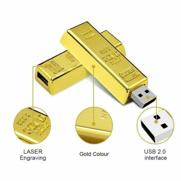 Clé usb 128 Go Gold Bar 2.0 Flash Drive Storage Mémoire Pour PC Wins 7/8/10
