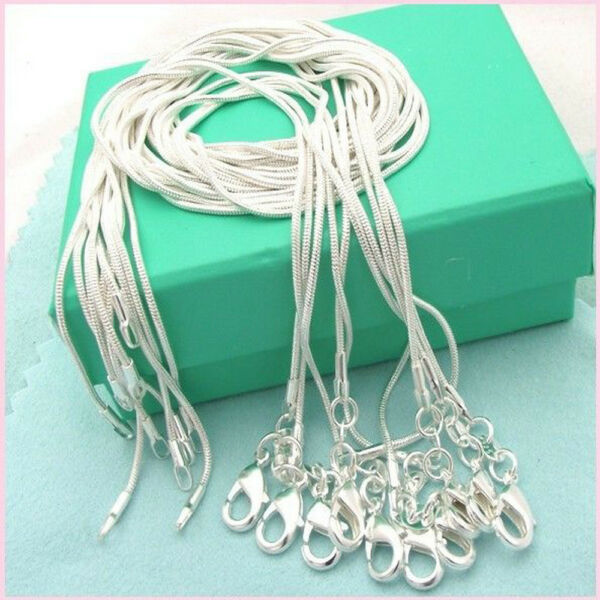 10PCS Wholesale 925 Sterling Solid Silver 1MM Snake Chain Necklace Fits Pendant