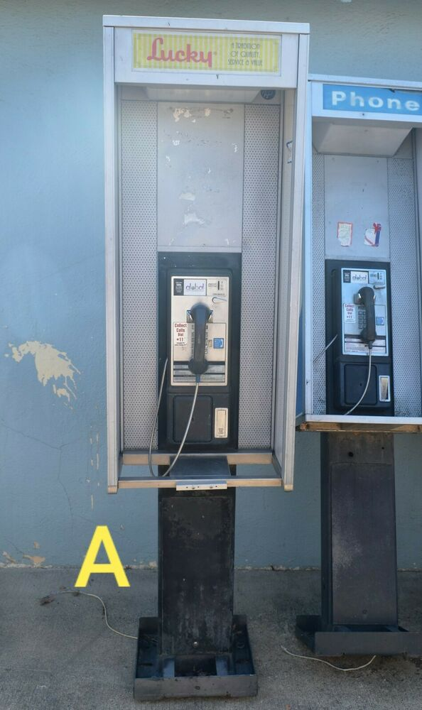Pay Phone Booth Pc6 Rare Porcelin Panels At Amp T Pacbell Gte Coin Operated Man Cave Ebay