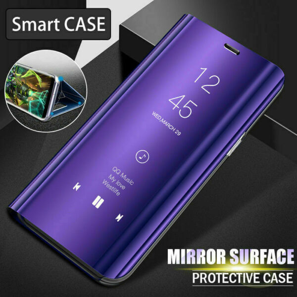 Samsung Galaxy A20e A50 A70 A40 Clear View Mirror Touch Leather Flip Case Cover