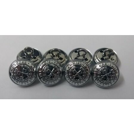 img-Genuine Trinidad & Tobago Prisons Insignia X8 Silver Ring Buttons 15mm V1663