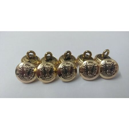img-Genuine Tanzania Peoples' Defence Force Insignia Gold Ring Buttons 12mm X10 V286
