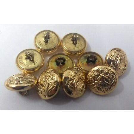 img-Genuine Nigerian Issue Unity and Faith Insignia Gold Ring Buttons 13mm X10 V170