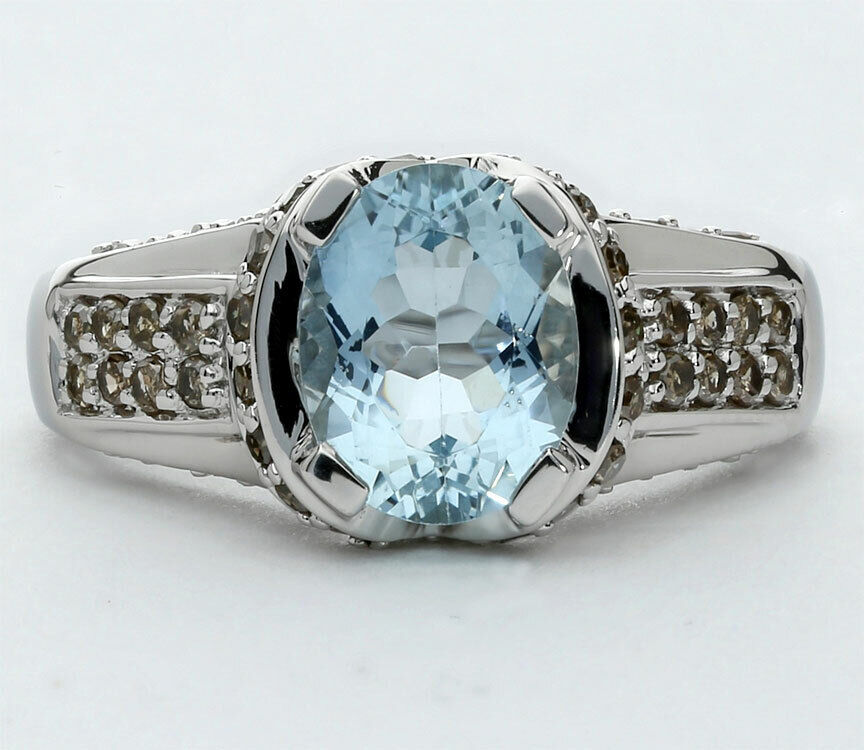 Diamond Aquamarine Ring 14K White Gold Oval Fancy Cocoa