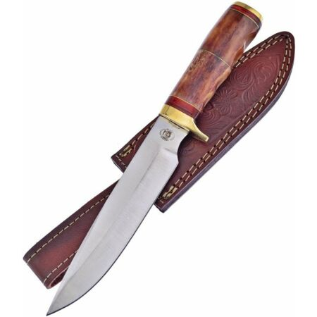 img-Couteau Bowie Frost Cutlery Brown Bear Lame Acier Carbone/Inox Etui FCW3449BRB