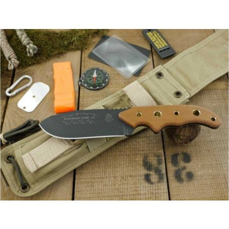 img-Couteau de Survie Tops Wilderness Guide 40 Carbone 1095 + Kit Made USA TPWSG4