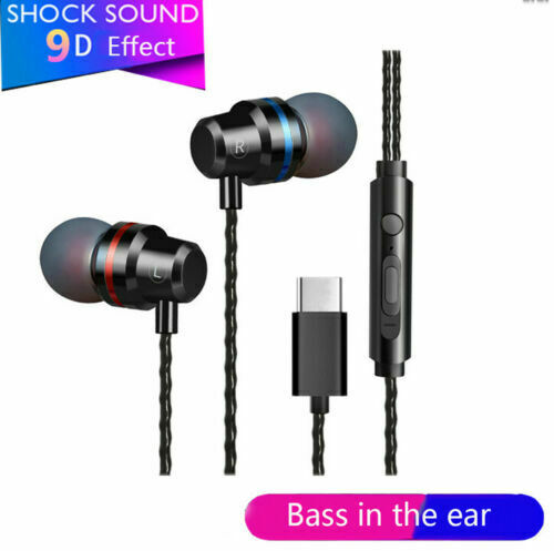 Stereo Headphones For USB-C Type-C Earphone With Mic Wire-controlled For Huawei