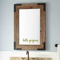 HELLO GORGEOUS Vinyl Wall Mirror Sticker Lettering Modern Wall Quotes Lettering