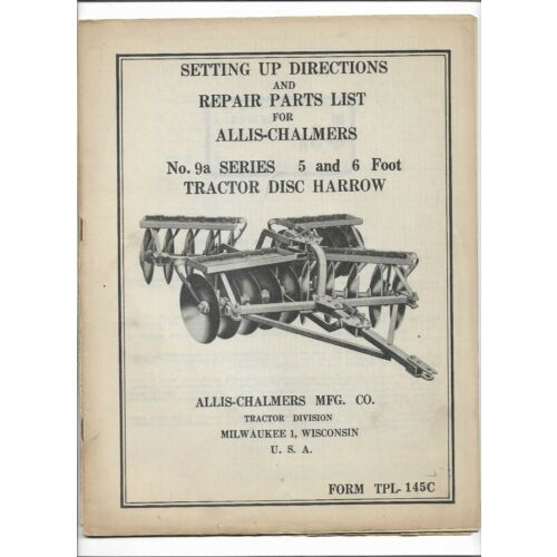 original-allis-chalmers-setting-up-parts-list-manual-for-9a-tractor-disc-harrow