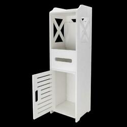 Kyпить Bathroom Floor Cabinet Waterproof Wall Mount 2-Tier Storage Organizer White NEW на еВаy.соm