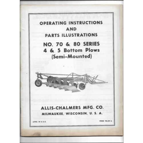 allis-chalmers-70-80-semi-mounted-plows-operators-manual-parts-illustrations