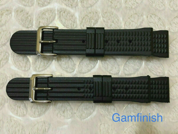Rubber Black Waffle Watch Strap for Divers Watch