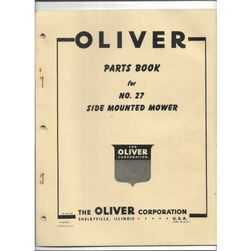 original-oem-1954-oliver-number-27-side-mounted-mower-parts-book-catalog-c3710z