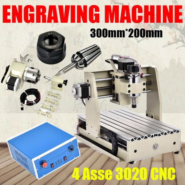 4Assi 3020 CNC Router Fresa macchina per incidere 300W Engraver Engraving Cutter