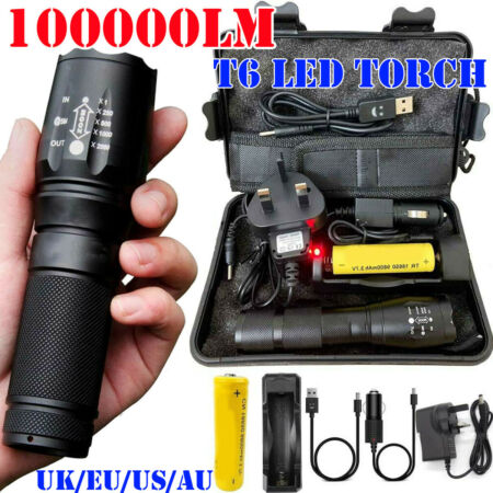 img-100000LM T6 LED Zoomable Torch Tactical Military Flashlight Headlamp Waterproof